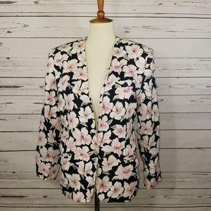 Jones New York Navy floral blazer